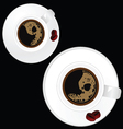 two white cup of coffee on black background vector image