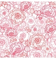 Poppy flowers line art seamless pattern background vector image