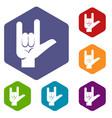 rock gesture icons set hexagon vector image