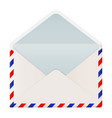 open envelope international air mail with red and vector image