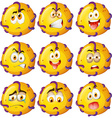 Yellow critter with facial expressions vector image