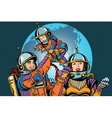 Retro astronauts family dad mom and child vector image