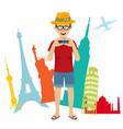 happy tourist photographer man vector image