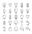 lamp and light bulbs line icons collection vector image