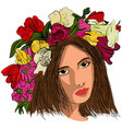pop art beautiful woman in flower wreath vector image