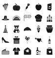 romantic icons set simple style vector image