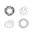 sun icon set outline style vector image