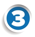 Number Three sticker blue vector image
