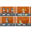 Scenes with kids on bike vector image vector image