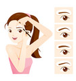 woman drawing her brow by eyebrow stencils vector image