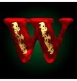 velvet w letter with gold vector image
