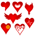 red heart shape original design set vector image