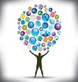 Man juggles worlds vector image