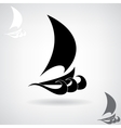 Stylized black silhouette of the ship vector image