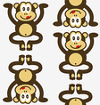 seamless cute little monkey pattern vector image