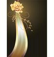 Elegant ribbon and golden rose vector image vector image