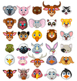 big animal head cartoon collection vector image vector image
