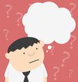 Cartoon businessman with bar question mark vector image