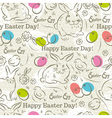 Easter Pattern and rabbits and eggs vector image