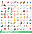 100 profession icons set isometric 3d style vector image