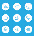 climate outlines set collection of breeze moon vector image
