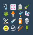 illegal drugs flat icons set methamphetamine vector image