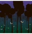 Fireflies in the forest at night vector image