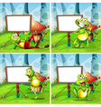 Four frames of frog in the park vector image vector image