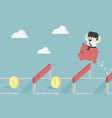 Businessman Jumping Over Hurdle To financial succe vector image