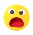 Frightened emoticon with open mouth icon vector image
