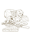 pile of hand drawn cheese cheese knife vector image
