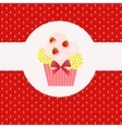 Strawberry cake on strawberry background vector image