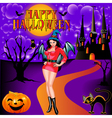 postcard on Halloween girl vector image