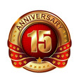 15 anniversary golden label with ribbon vector image