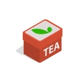Red tea box icon isometric 3d style vector image