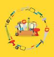 cartoon hand tools box vector image