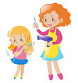girl combing hair and mother with blow dryer vector image