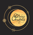 merry christmas hand lettering gold texture vector image