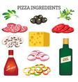 pizza ingredients set vector image
