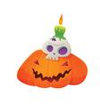 Pumpkin Lantern and Skull Green Candle vector image