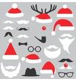 Santa Claus hats beard and mustache set vector image