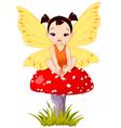 Cute Asian Baby Fairy On Mushroom vector image vector image