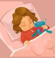 little smiling baby girl character sleeping vector image