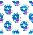 Number 9 childish seamless pattern vector image
