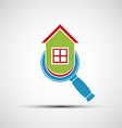 logo magnifier and layout of the house vector image vector image