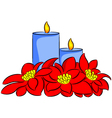 candle and poinsettia vector image vector image