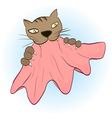 cat teeth and claws gripped the cloth vector image