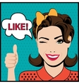 Pop art winking woman with thumbs up gesture vector image