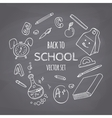 Back to school doodle supplies set Chalk style vector image