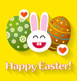 Bunny with eggs Easter greeting card vector image